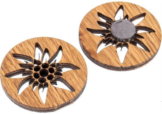 Holz Magnet aus Eiche geölt Form: Edelweiss
