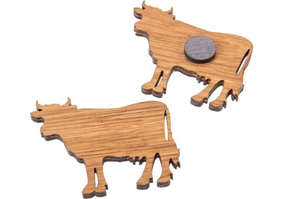 Holz Magnet aus Eiche geölt Form: Kuh