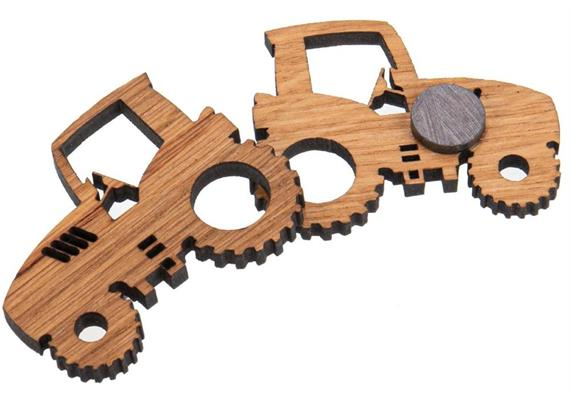 Holz Magnet aus Eiche geölt Form: Traktor