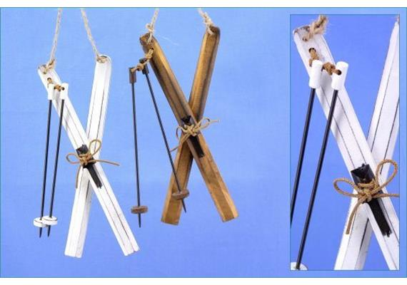Holz-Schi hgd. natur/weiss sort. L20cm