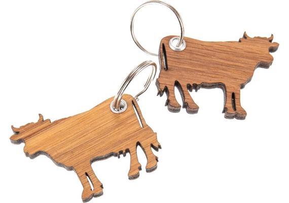 Holz Schlüsselanhänger aus Eiche geölt 5 mm: Kuh