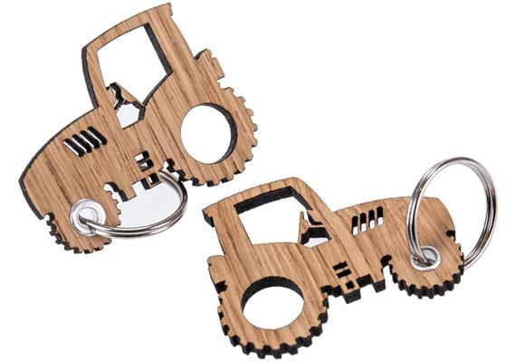Holz Schlüsselanhänger aus Eiche geölt 5 mm: Traktor