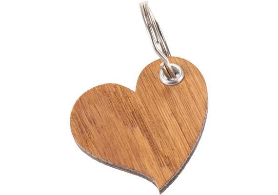 Holz Schlüsselanhänger Herz aus Eiche Laserschnitt, geölt 5 mm