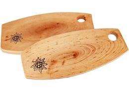 Holzbrett rustikal Erle mit Edelweiss Branding 34 - 38 cm Holzoberfläche geölt