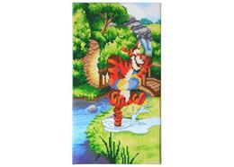 Hüpfender Tigger, Crystal Art dreiteiliges Bild Teil 1, 40x22cm
