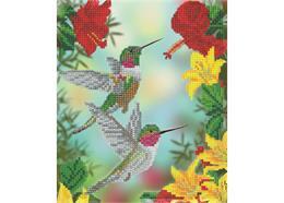 Hungrige Kolibris, 21x25cm Bild mit Rahmen Crystal Art