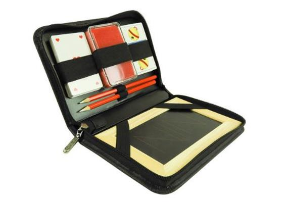 Jasskarten Set 22x15x3.8cm, Kunstleder, Tafel, Schwamm, 2 Schreiber, Karten