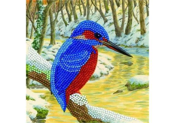 Kingfisher, 18x18cm Crystal Art Card