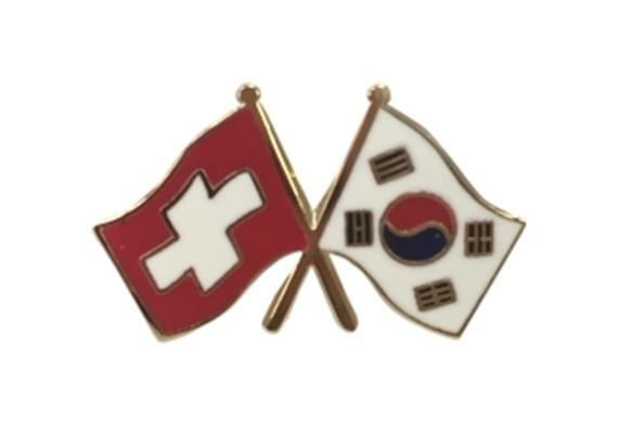 Krawattennadel CH mit Korea, Hohe Qualität, Grösse 25 mm
