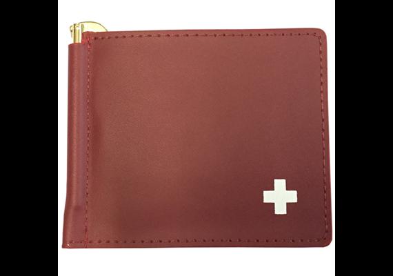 Kreditkarten Portemonnaie Echtleder mit Cliphalter für Geldscheine, rot, 194*88*5mm geöffn