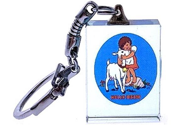 Kristall Schlüsselanhänger mit Heidi und Geiss, 30 x 23 x 10 mm