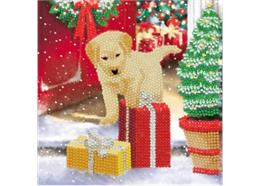 Labrador Pup, 18x18cm Crystal Art Card