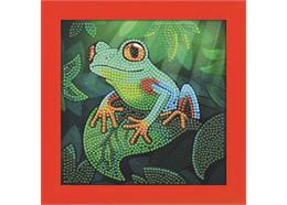 Laubfrosch, Bild 16x16cm rahmbar Crystal Art