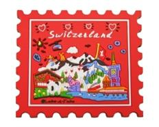 Magnet CL red Briefmarke Switzerland, Rubber, 66 x 59 mm (L x B)
