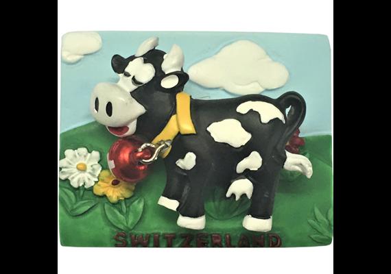 Magnet Kuh Funny s/w, Springfeder, mit Glöckli