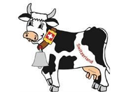 Magnet Kuh Switzerland mit Glöckli, silber