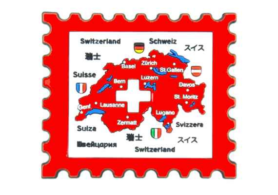 Magnet LD Briefmarke Switzerland, Rubber, 66 x 59 mm (L x B)