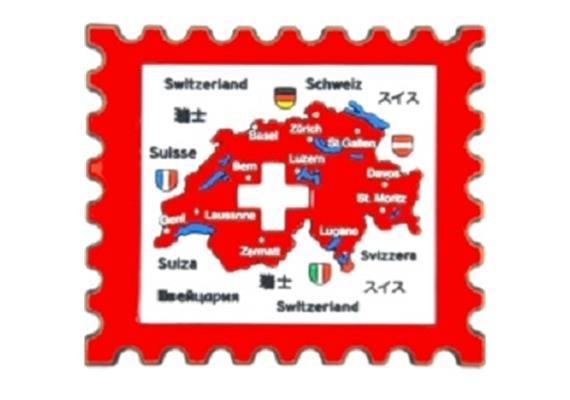 Magnet LD Briefmarke Switzerland, Rubber, 66 x 59 mm (L x B)