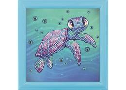 Meeresschildkröte, Bild 16x16cm rahmbar Crystal Art