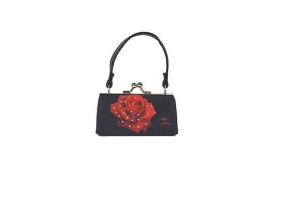 MiniBag Morgentau Rose, schwarz-rot
