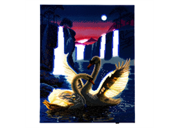 Moonlight Swans, 40x50cm LED Crystal Art Kit