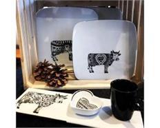 Oh la vache B&W, KaffeeTeller lang & Tasse 30x10cm