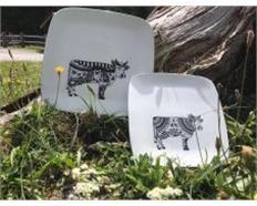 Oh la vache Black & White, Teller 20x20cm