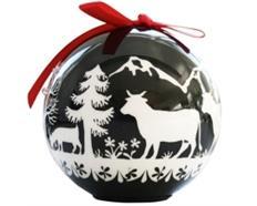 Ornament Dekokugel mit Scherenschnitt schwarz/weiss, 6 LED's, Ø 8cm