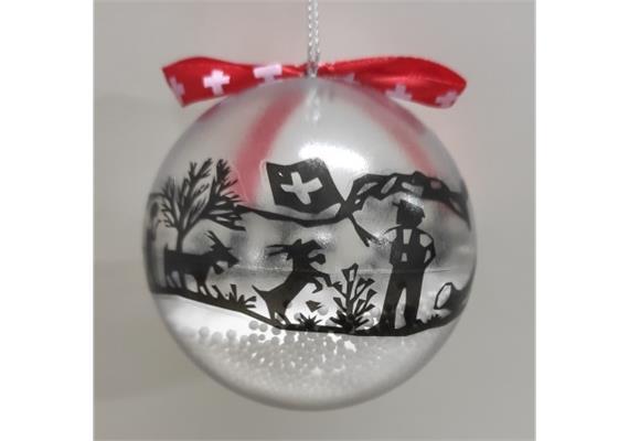 Ornament Dekokugel mit Scherenschnitt transparent, Ø 8cm, LT Juli