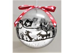 Ornament Dekokugel mit Scherenschnitt transparent, Ø 8cm