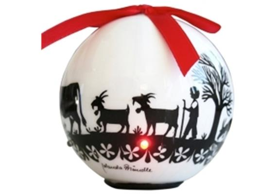 Ornament Dekokugel mit Scherenschnitt weiss/schwarz, 6 LED's, Ø 8cm, LT Juli