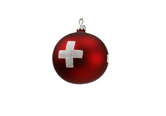 Ornament Dekokugel rot mit CH-Kreuz, Ø 8cm