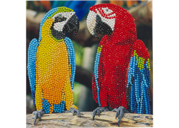 Papageienfreunde, Karte 18x18cm Crystal Art