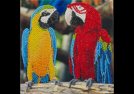 Parrot Friends, 18x18cm Crystal Art Card