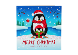 Penguin Gift, 18x18cm Crystal Art Card