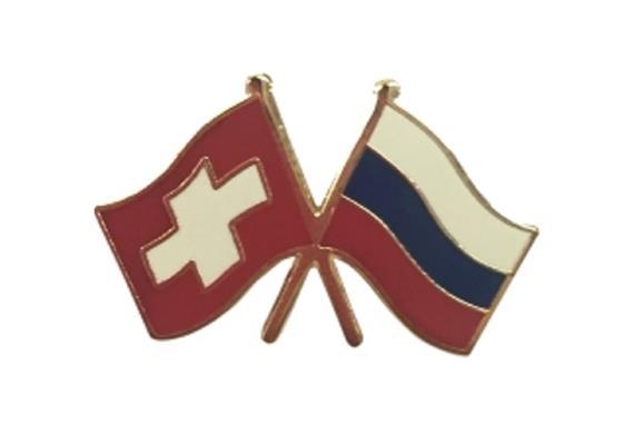 Pin CH mit Russland, Hohe Qualität, Grösse 25 mm.