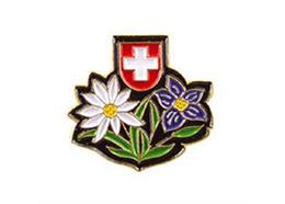Pin Edelweiss mit Enzian, Grösse: 20 mm