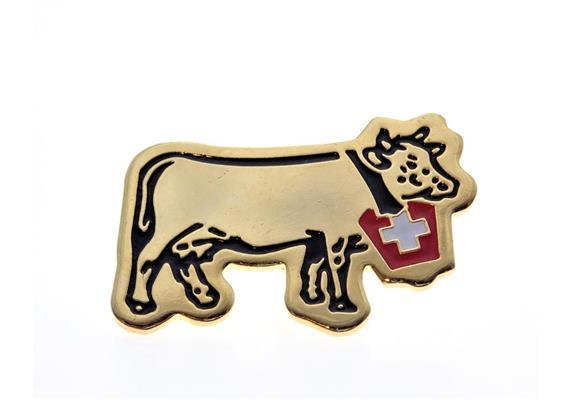 Pin Kuh (Swiss Cow), mit CH-Kreuz, Gold: 25 mm
