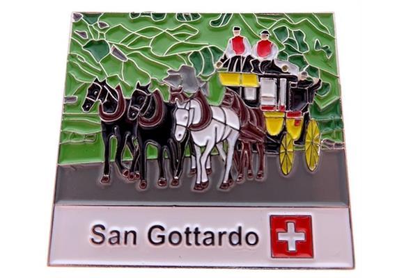 Pin Kutsche Gotthard, 30*27.3mm, mehrfarbig, soft