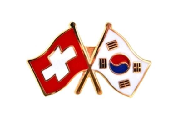 Pin/Magnet CH mit Korea, Hohe Qualität, Grösse 25 mm