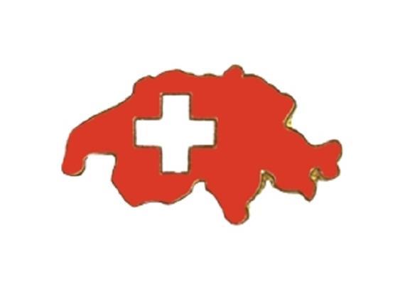 Pin Schweiz (Umriss), rot mit Kreuz, Grösse: 25 mm