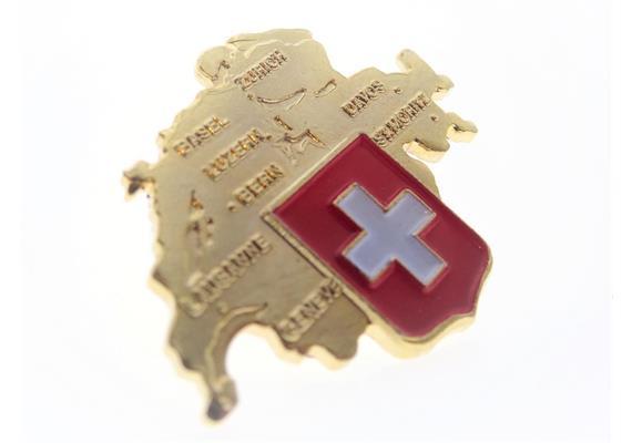 Pin Schweizer Karte,mit CH-Kreuz, gold: 25 mm