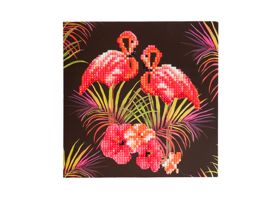 Pink Flamingos, 18x18cm Crystal Art Card