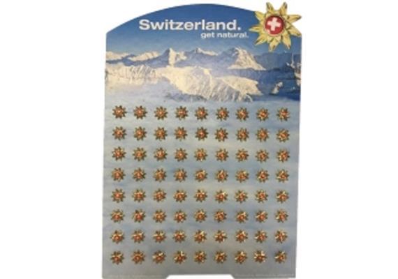 Pins Display Goldblume ® Schweiz Tourismus mit 72 Ex.