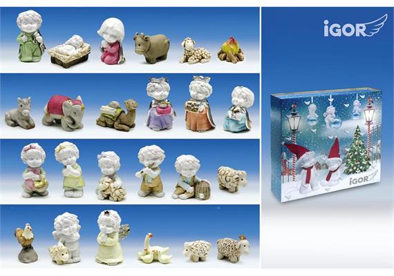 Poly-Adventkalender ''Igor'' Set/24 (Krippenfiguren) weiss-coloriert H5cm
