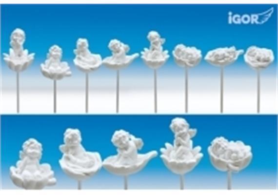 Poly-Engel ''Igor'' auf Blüten/Herz/Blatt-Sticker weiss sort. H4-5,5 L35cm