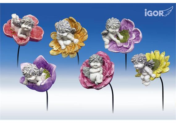Poly-Engel ''Igor'' auf Blüten-Sticker stony- grey sort. ø9 H7-10 L60cm