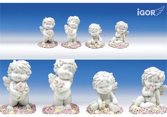 """Poly-Engel """"Igor"""" auf Blütenherz im Display weiss-coloriert sort. ø5 H6-7.5cm"""