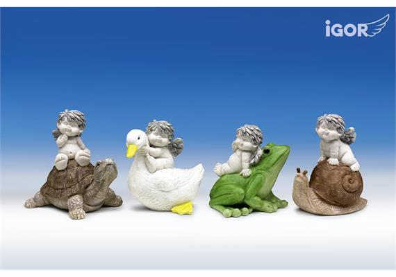 "Poly-Engel ""Igor"" auf Gartentieren stony-grey coloriert sort. H9-11cm B10-11cm"