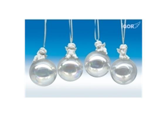 """Poly-Engel """"Igor"""" auf Glas-Seifenblase hgd. weiss sort. ø8 H11-12cm"""
